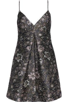 ZIMMERMANN Pleated metallic brocade mini dress