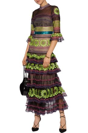 TEMPERLEY LONDON Embroidered tulle and satin midi dress