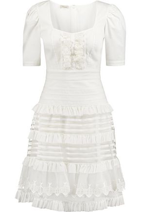 TEMPERLEY LONDON Tiered cotton-poplin and mesh dress