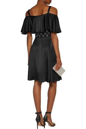TEMPERLEY LONDON Crossbone cold-shoulder embellished silk-satin dress