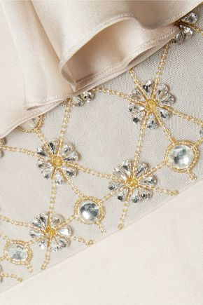 TEMPERLEY LONDON Crossbone cold-shoulder embellished silk-satin dress