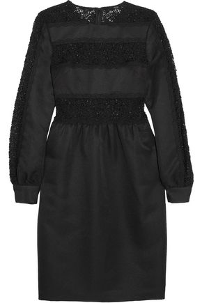MIKAEL AGHAL Sequined guipure lace-paneled twill dress