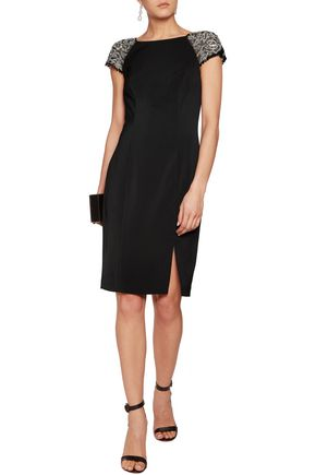 MIKAEL AGHAL Embellished tulle and stretch-cady dress