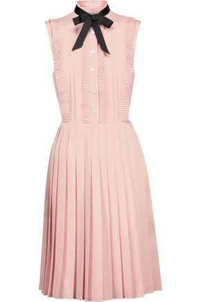 MIKAEL AGHAL Pussy-bow pleated crepe dress