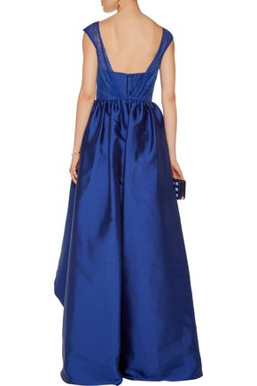 MIKAEL AGHAL Lace-paneled asymmetric satin-twill gown