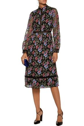 MIKAEL AGHAL Floral embroidered tulle dress