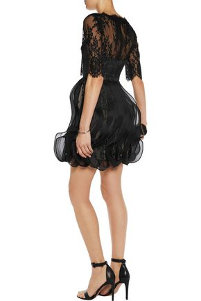 MIKAEL AGHAL Ruffled silk georgette and lace mini dress