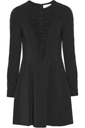 A.L.C. Ware lace-paneled lace-up stretch-crepe mini dress