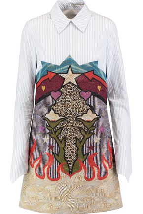 MARY KATRANTZOU Striped poplin-paneled cloqué mini dress
