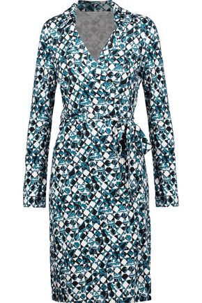 DIANE VON FURSTENBERG Printed silk wrap mini dress