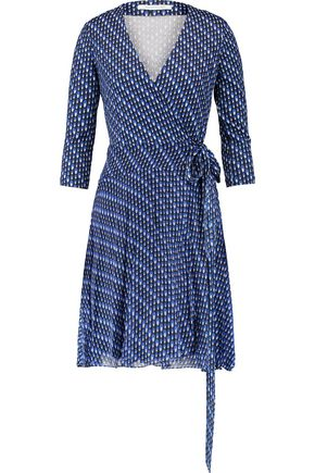 DIANE VON FURSTENBERG Printed silk-jersey and crepe wrap mini dress