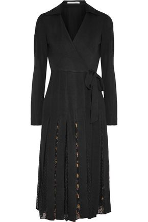 DIANE VON FURSTENBERG Wrap-effect pleated crepe and printed fil-coupé dress