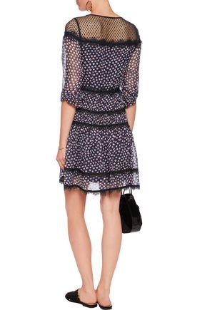 DIANE VON FURSTENBERG Jamie lace-trimmed printed silk-chiffon mini dress