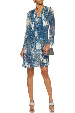 DIANE VON FURSTENBERG Kourtni pintucked printed silk-chiffon mini dress