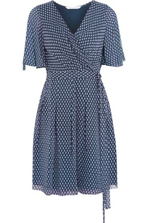Diane Von Furstenberg Woman Katina Printed Chiffon Wrap Mini Dress Midnight Blue Size 12