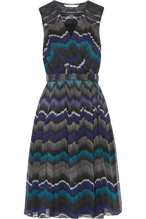 DIANE VON FURSTENBERG Pleated printed silk-chiffon wrap dress