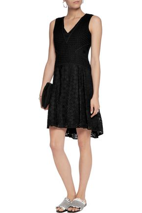 DIANE VON FURSTENBERG Cotton-blend macramé lace mini dress