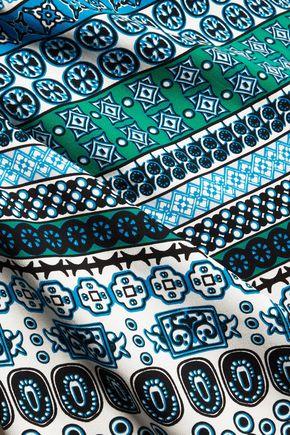 DIANE VON FURSTENBERG Pussy-bow printed silk-blend mini dress