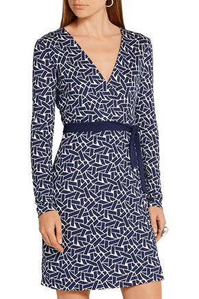 DIANE VON FURSTENBERG Reversible printed silk-jersey wrap mini dress