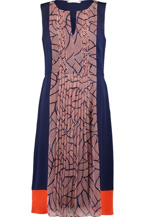 DIANE VON FURSTENBERG Aubriana pleated silk-crepe and printed silk-chiffon midi dress