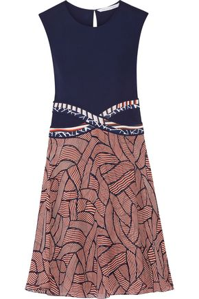 DIANE VON FURSTENBERG Rosalie jersey and printed silk-chiffon dress
