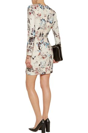 MICHELLE MASON Wrap-effect printed crepe mini dress