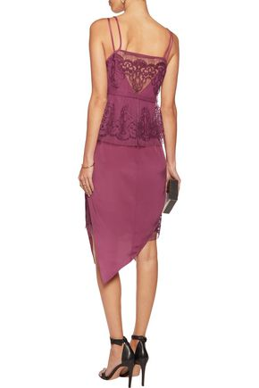 MICHELLE MASON Layered silk-georgette and cotton-blend lace dress