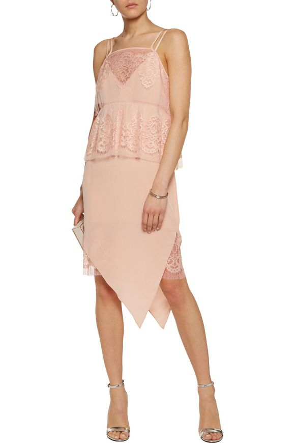 Layered silk-georgette and cotton-blend lace dress | MICHELLE MASON | Sale  up to 70% off | THE OUTNET
