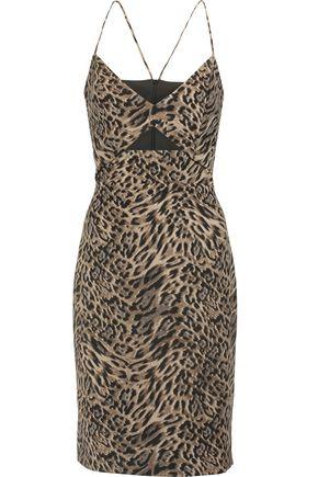 MICHELLE MASON Cutout leopard-print crepe dress