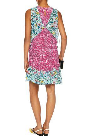 MARY KATRANTZOU Fluor scalloped printed silk-crepe dress