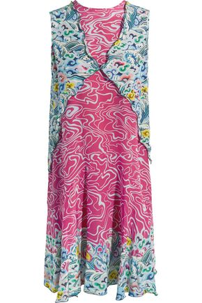 MARY KATRANTZOU Fluor scalloped printed silk-crepe dress