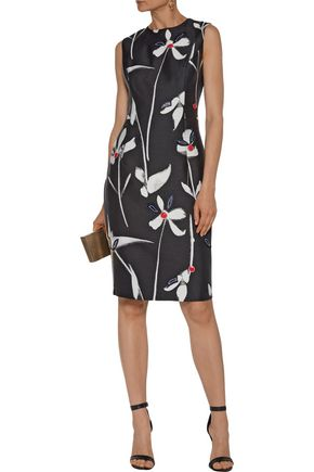 SACHIN & BABI May appliquéd printed faille dress