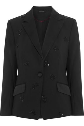 DIANE VON FURSTENBERG Bead-embellished wool-blend crepe blazer