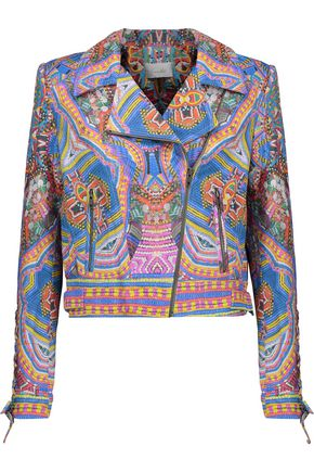 CAMILLA Printed leather biker jacket