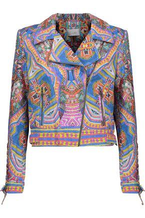 CAMILLA Printed leather biker jacket