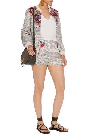 CAMILLA Printed faille bomber jacket