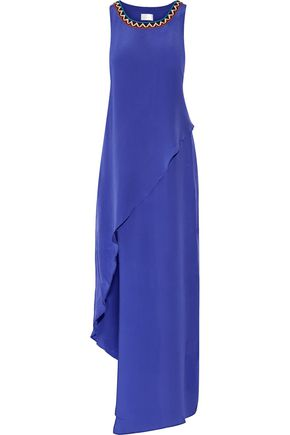 CAMILLA Embellished embroidered silk crepe de chine maxi dress
