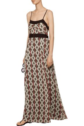CAMILLA Layered printed crepe de chine maxi dress