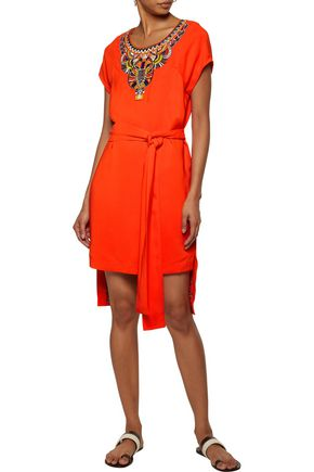 CAMILLA Belted bead-embellished jersey mini dress