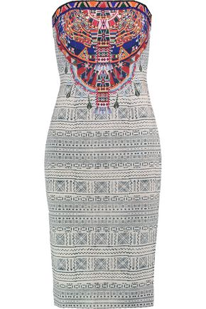 CAMILLA Strapless bead-embellished printed crepe de chine dress