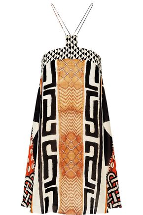 CAMILLA Printed silk halterneck mini dress
