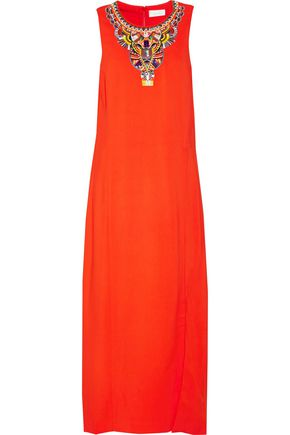CAMILLA Embellished embroidered stretch-jersey maxi dress