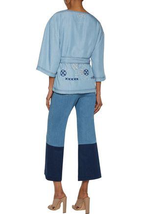 CAMILLA Embroidered chambray wrap jacket