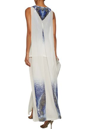 CAMILLA Embellished layered printed silk crepe de chine maxi dress