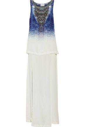 CAMILLA Embellished layered printed silk crepe de chine maxi dress