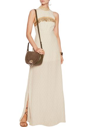 CAMILLA Bead and sequin-embellished printed crepe maxi dress