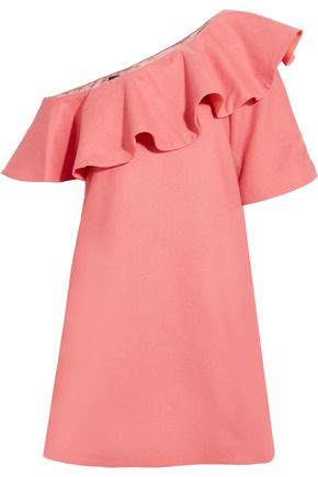 PAPER London Chi Chi ruffled one-shoulder cotton-twill mini dress