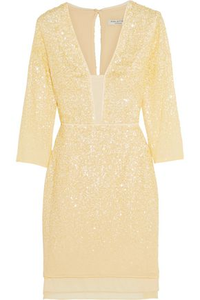 HALSTON HERITAGE Sequin-embellished chiffon mini dress