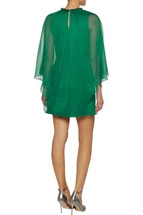 HALSTON HERITAGE Embellished draped chiffon mini dress
