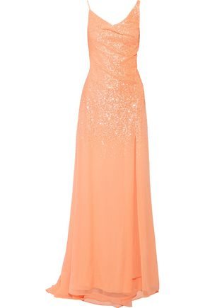 HALSTON HERITAGE Draped sequinned georgette gown